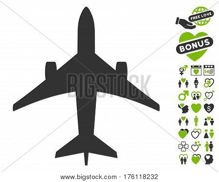 Jet Plane pictograph with bonus lovely pictograms. Vector illustration style is flat iconic eco green and gray symbols on white background.