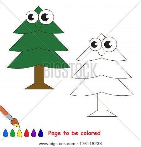 Fur Tree to be colored, the coloring book to educate preschool kids with easy kid educational gaming and primary education of simple game level.