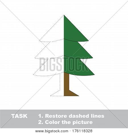 Fur Tree in vector to be traced, restore dashed line and color the picture. Simple visual game with easy education game level, educational worksheet for preschool kids.