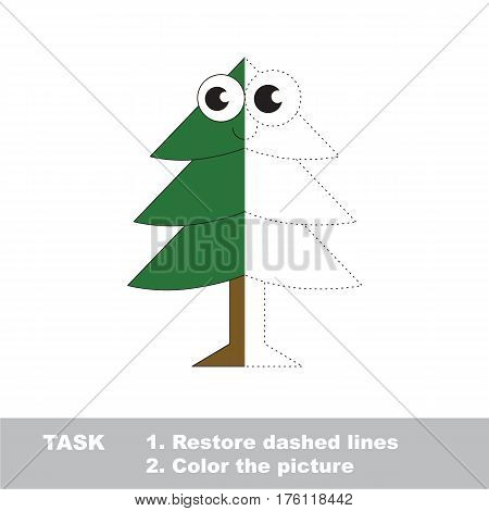 Evergreen Tree in vector to be traced, restore dashed line and color the picture. Simple visual game with easy education game level, educational worksheet for preschool kids.