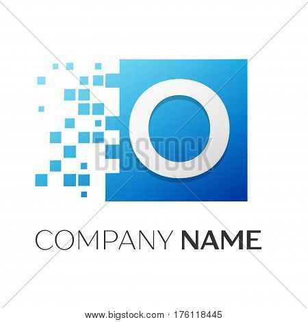 Letter O vector logo symbol in the colorful square with shattered blocks on white background. Vector template for your design