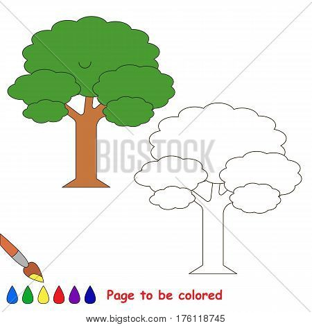 Leaf Tree to be colored, the coloring book to educate preschool kids with easy kid educational gaming and primary education of simple game level.