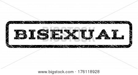 Bisexual watermark stamp. Text caption inside rounded rectangle with grunge design style. Rubber seal stamp with scratched texture. Vector black ink imprint on a white background.