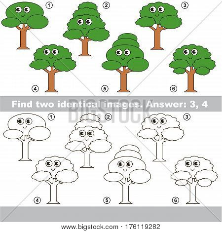 Educational kid matching game to find design difference, the task is to find similar trees. The educational game for kids with easy game level. Compare objects and find two same Leaf Tree.