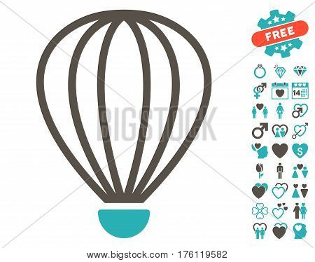 Aerostat icon with bonus lovely pictograph collection. Vector illustration style is flat iconic grey and cyan symbols on white background.