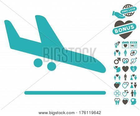 Aiplane Landing icon with bonus valentine pictograph collection. Vector illustration style is flat iconic grey and cyan symbols on white background.