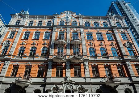 Building on Church Street in Riga city Latvia