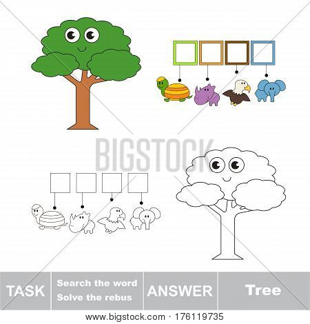 Vector rebus game for preschool kids with easy educational game level for kid education during gaming, find solution and write the hidden word in grid cells - Tree.