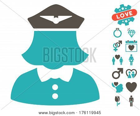 Airline Stewardess pictograph with bonus valentine pictures. Vector illustration style is flat iconic grey and cyan symbols on white background.