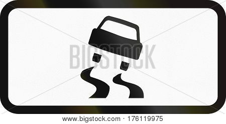 Belarusian Supplementary Road Sign - Slippery Road