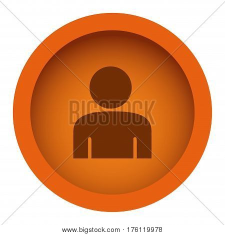 orange color circular frame with silhouette half body figure person vector illustration
