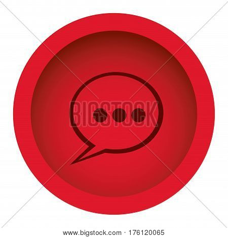 red color circular frame with silhouette speech bubble vector illustration
