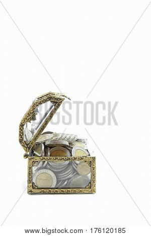 vintage glass chest with wealth coins inside isolated on white, side perspective