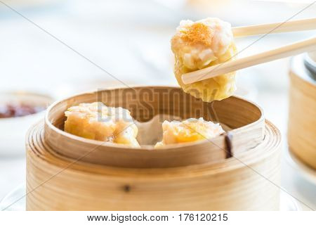 Chinese dim sum Shumai - Steamed Chinese groumet cuisine