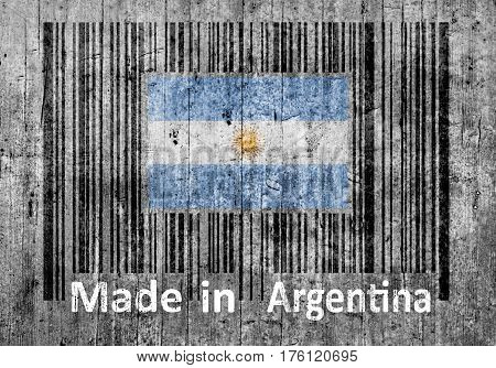 Bar code on concrete Made in Argentina