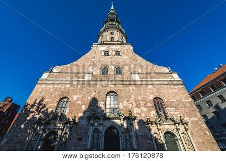 Frontage of Lutheran church of St Peter Old City of Riga Latvia
