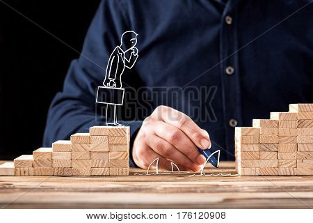 Career Planning Concept. Businessman Facing Problems On Career Planning