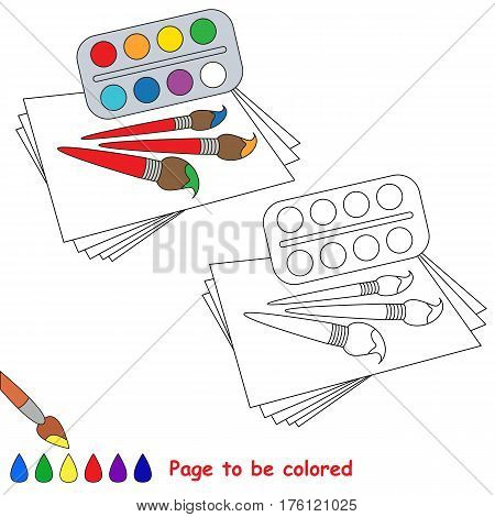 Watercolor, brushes and paper to be colored, the coloring book to educate preschool kids with easy kid educational gaming and primary education of simple game level.