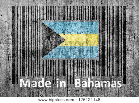 Barcode on concrete Made in Bahamas close