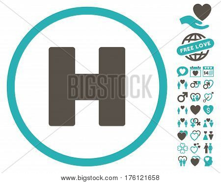 Helicopter Landing icon with bonus dating icon set. Vector illustration style is flat iconic grey and cyan symbols on white background.