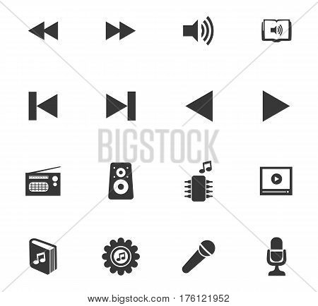 Music icons set and symbols for web user interface