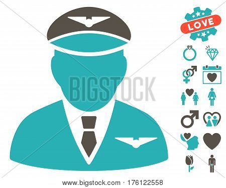 Pilot pictograph with bonus lovely pictograms. Vector illustration style is flat iconic grey and cyan symbols on white background.