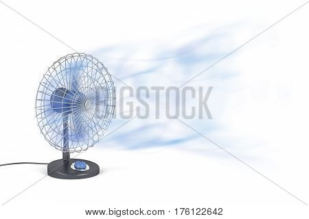 Electric fan blowing cold air, 3D illustration
