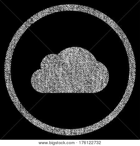 Cloud vector textured icon for overlay watermark stamps. Fabric white vectorized texture. Symbol with dust design. Rubber seal stamp with fiber textile structure.