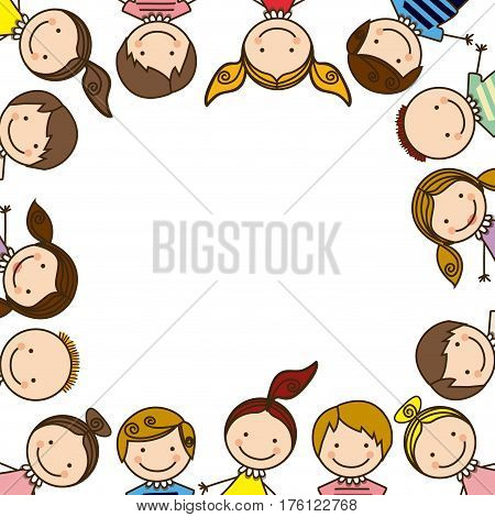 colorful border with half body group cartoon children vector illustration