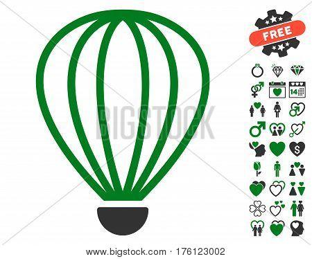 Aerostat pictograph with bonus valentine icon set. Vector illustration style is flat iconic green and gray symbols on white background.