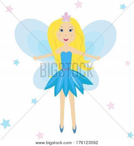 Cute princess fairy star vector illustration Angel, wings