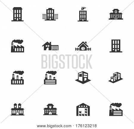 Infrastructure city icons set and symbols for web user interface