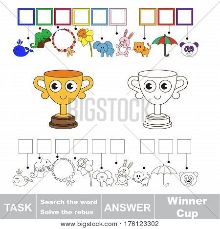 Vector rebus game for preschool kids with easy educational game level for kid education during gaming, find solution and write the hidden word in grid cells - Winner Cup.