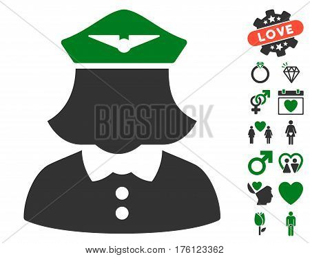 Airline Stewardess pictograph with bonus lovely symbols. Vector illustration style is flat iconic green and gray symbols on white background.
