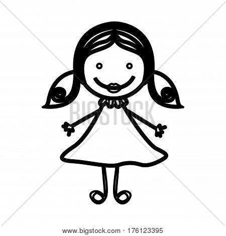 sketch silhouette front view girl with hair pigtails vector illustration