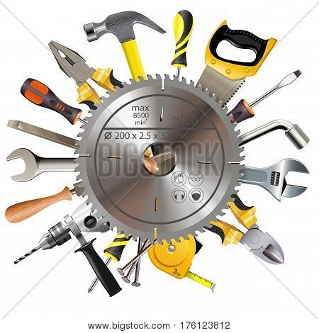 Vector Saw Blade with Tools isolated on white background