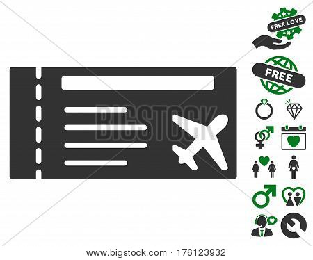 Airticket icon with bonus love clip art. Vector illustration style is flat iconic green and gray symbols on white background.