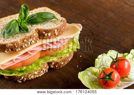 Macro close up healthy ham cheese and tomato wholewheat sandwich on wooden table.