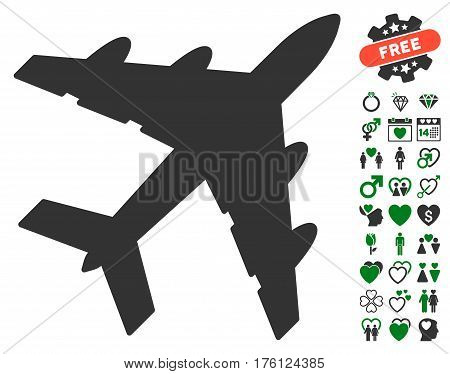 Bomber icon with bonus dating graphic icons. Vector illustration style is flat iconic green and gray symbols on white background.