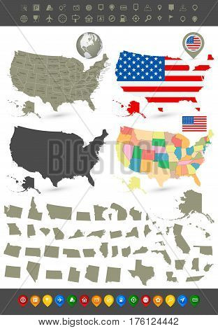 United States of America navigation set with maps flag navigation icons and it's states.