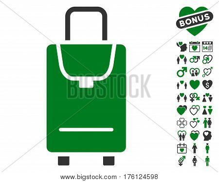 Carryon pictograph with bonus lovely symbols. Vector illustration style is flat iconic green and gray symbols on white background.