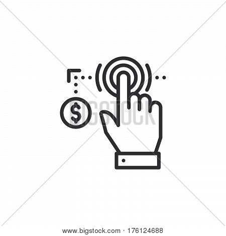 Hand using touch screen and coin line icon outline vector sign linear pictogram isolated on white. Pay per click symbol logo illustration