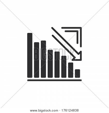 Arrow graph going down icon vector filled flat sign solid pictogram isolated on white. Crisis symbol logo illustration