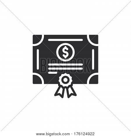 Stock share certificate icon vector filled flat sign solid pictogram isolated on white. Bonds securities symbol logo illustration