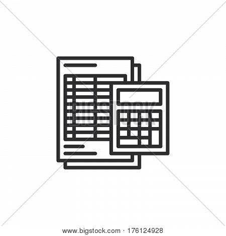 Calculator and sheet line icon outline vector sign linear pictogram isolated on white. Accounting symbol logo illustration
