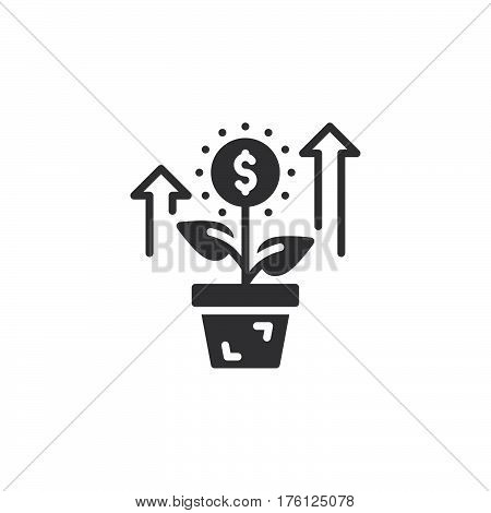 Growing plant flower with dollar sign icon vector filled flat sign solid pictogram isolated on white. Investment symbol logo illustration