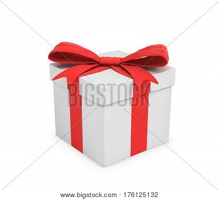 3d rendering of a white gift box tied with a red bow on white background. Gifts and presents. Birthday party. Sales and promotions.
