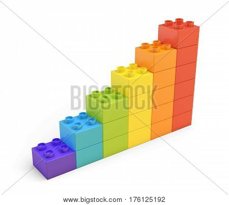 3d rendering of colorful stairs made of many bricks on white background. Games and toys. Puzzle pieces. Building blocks.