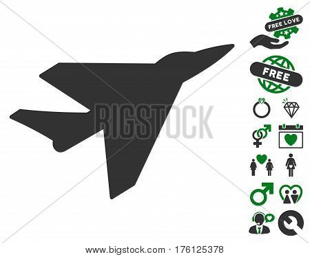 Intercepter icon with bonus love pictures. Vector illustration style is flat iconic green and gray symbols on white background.