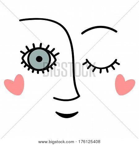 Winking face. Abstract vector ilustration isolated on white
